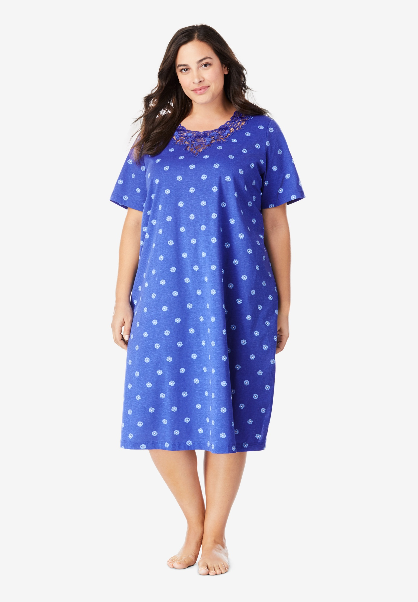 Lace-Trim Sleepshirt by Dreams & Co.®,