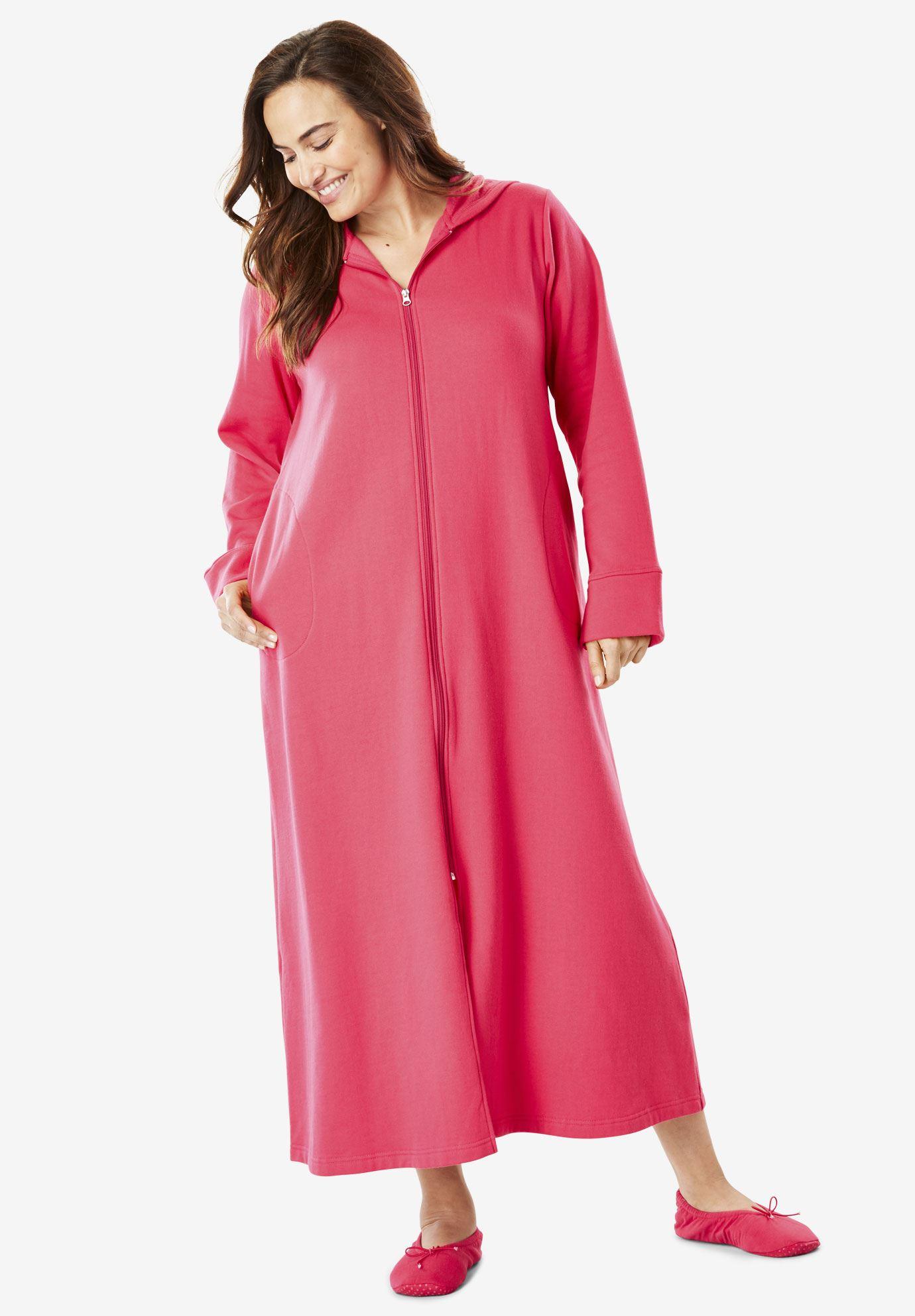 Long Fleece Hooded Robe by Dreams & Co.® | Plus Size Petites ...