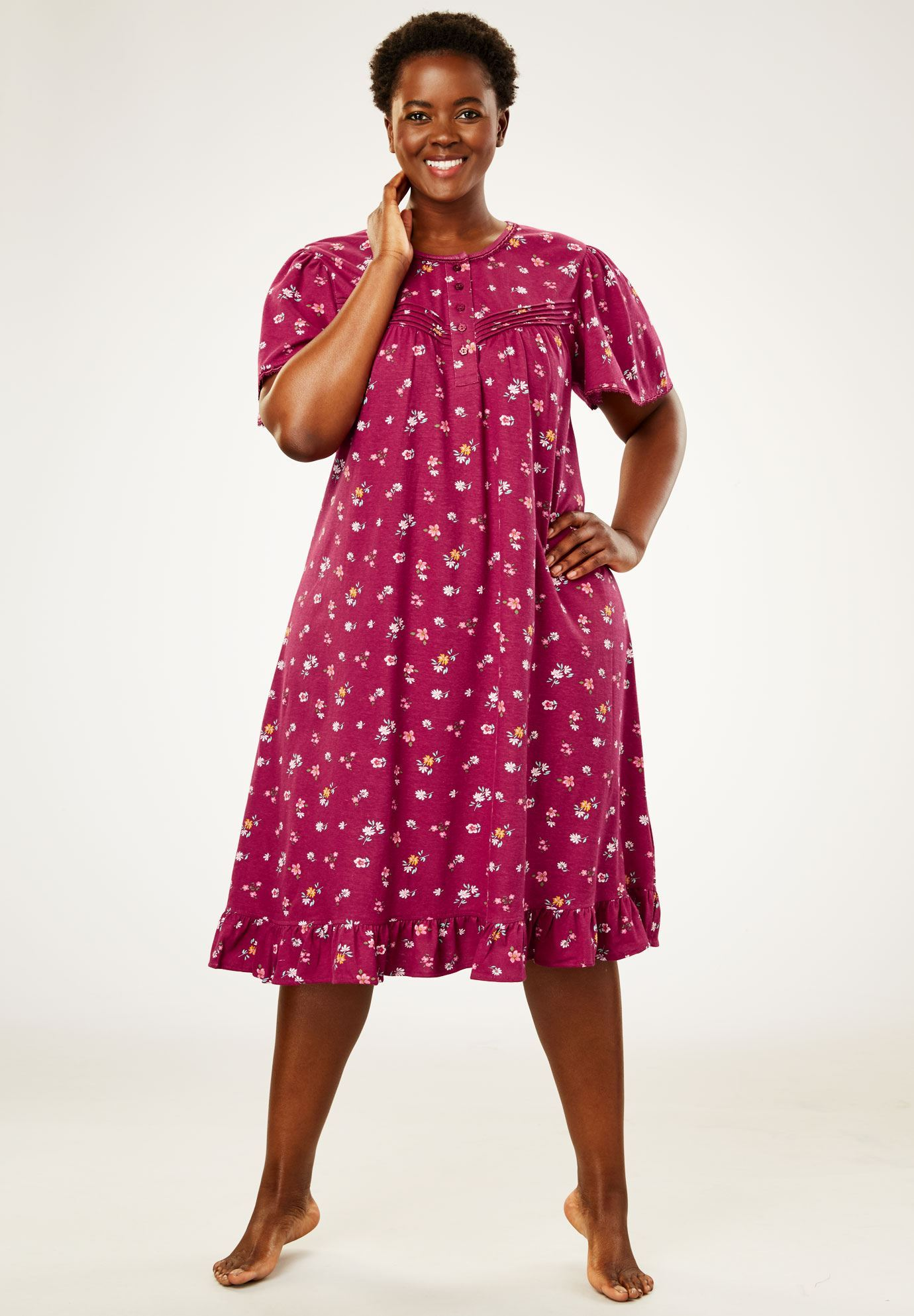 Cotton Print Nightgown By Dreams Co Plus Size Sleep Gowns