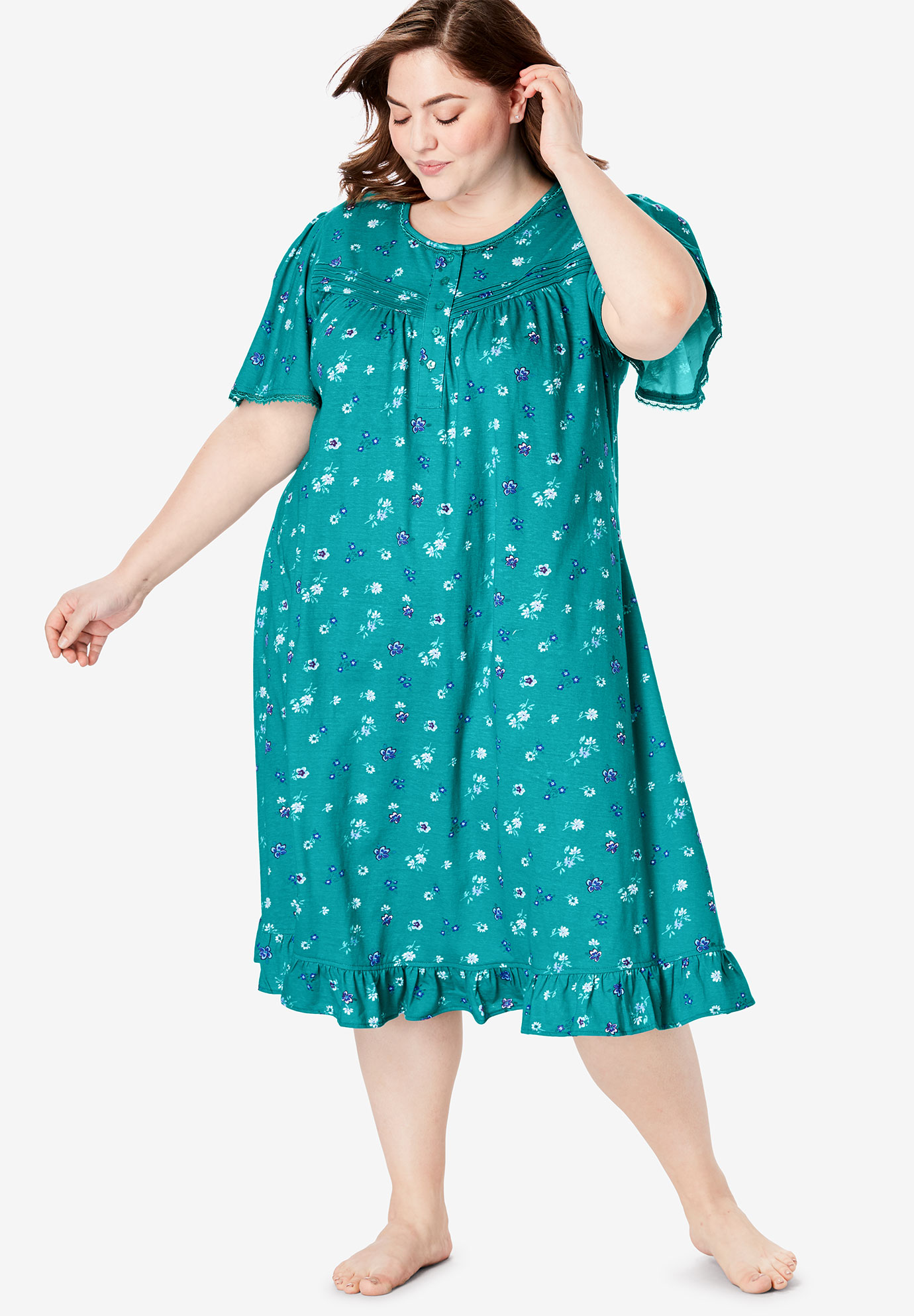 Short Floral Print Cotton Gown by Dreams & Co.®,