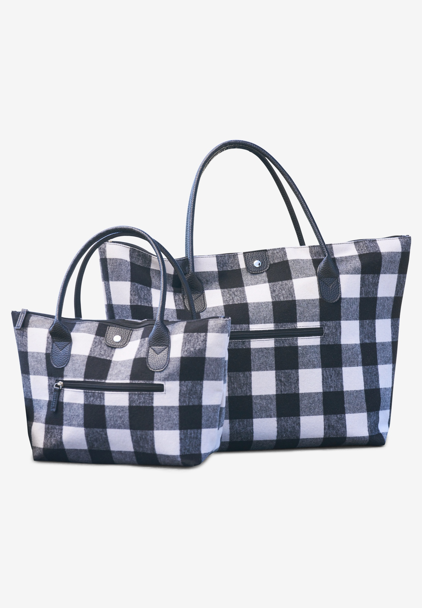 2-Piece Buffalo Plaid Bag Set, IVORY BUFFALO PLAID