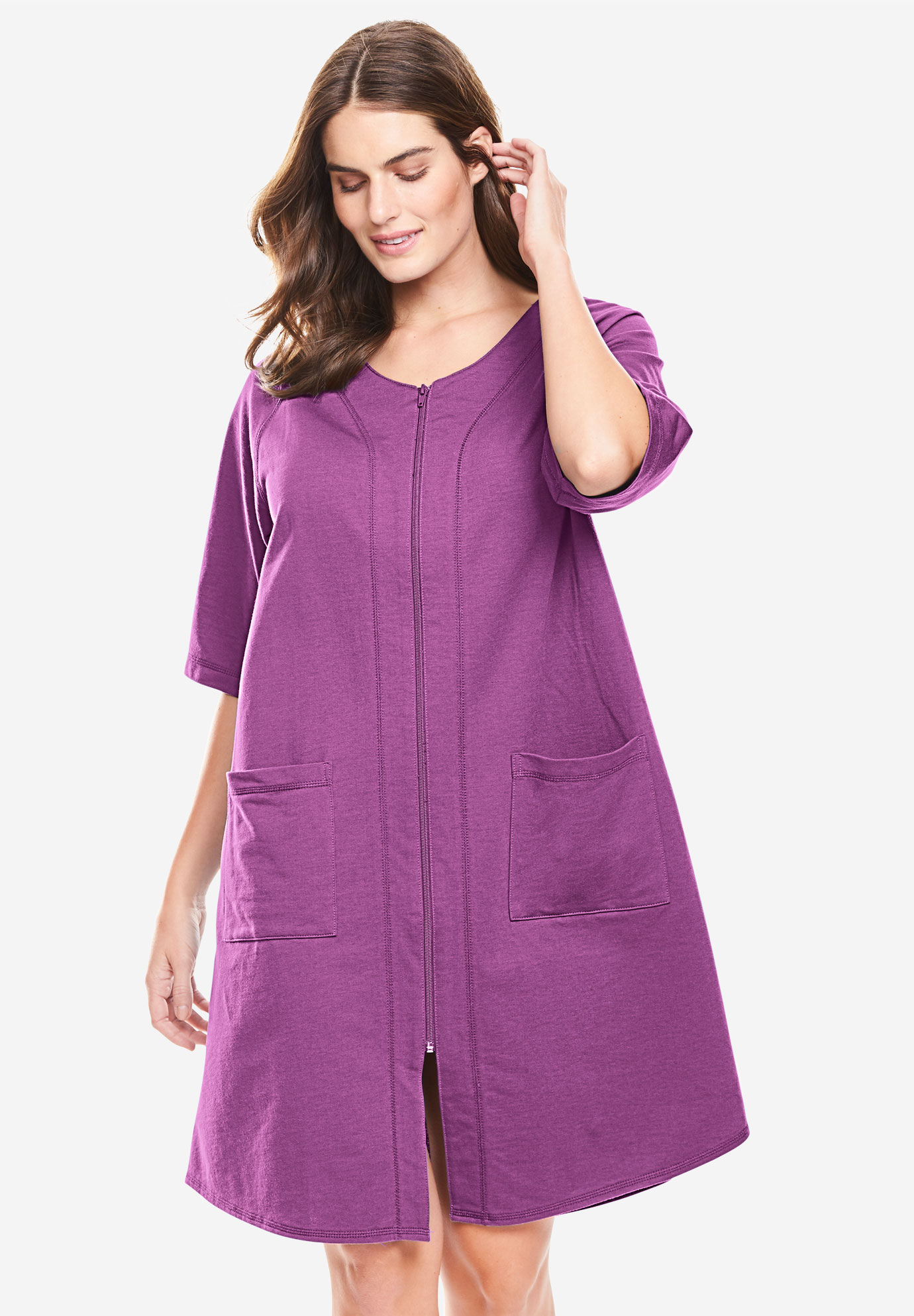 Short French Terry Zip-Front Robe ,
