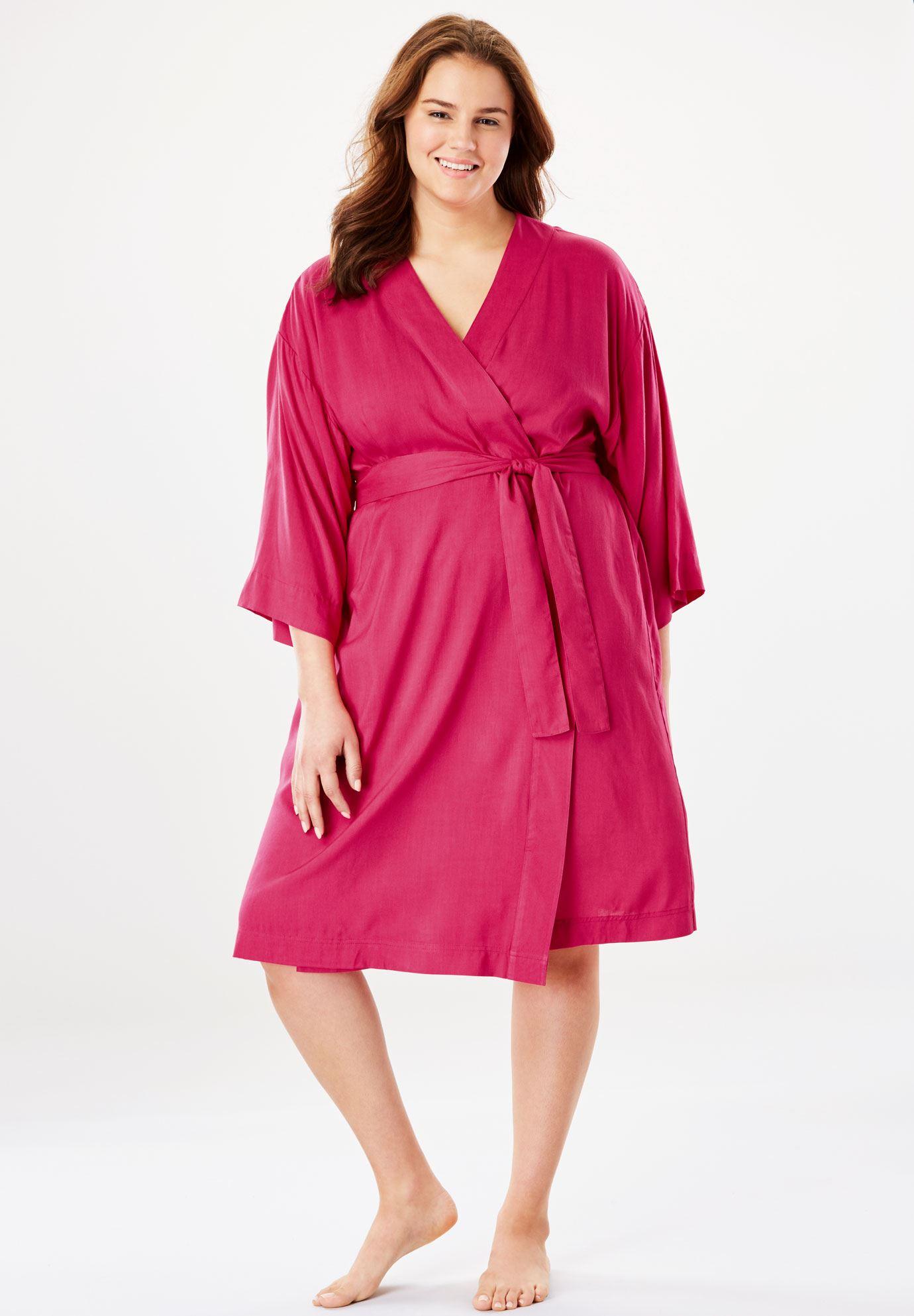 Kimono Wrap Robe by Dreams & Co.® | Plus Size Robes & Slippers ...