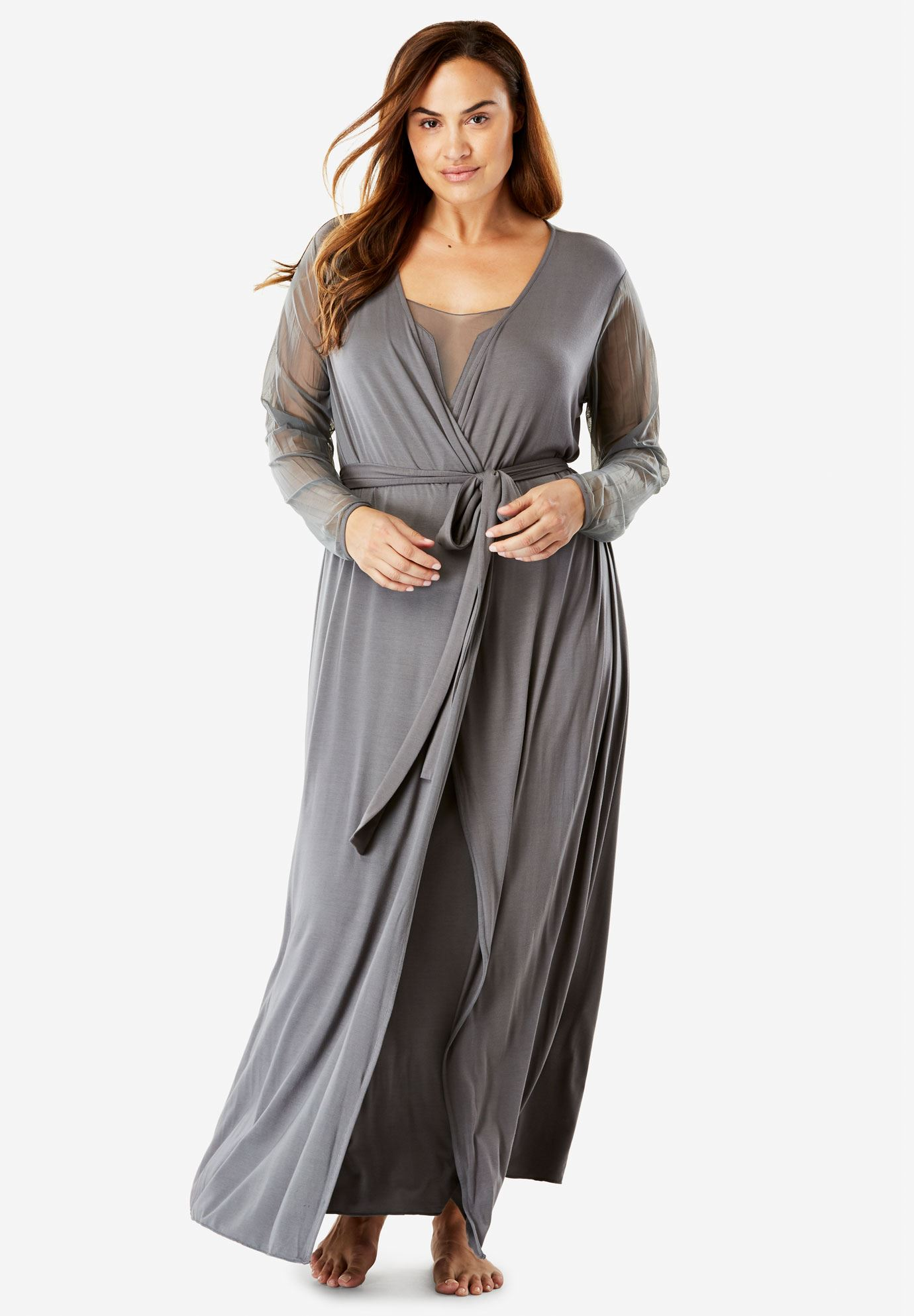Mesh Nightie And Robe Set By Amoreuse Plus Size Sleep Gowns