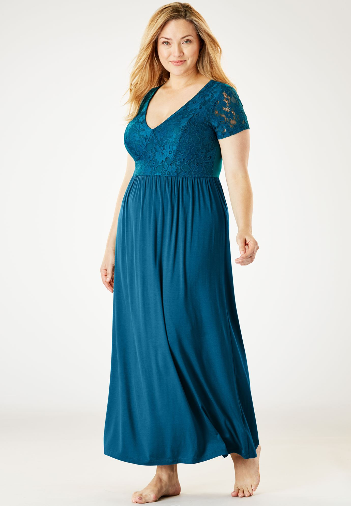 Lace Bodice Sleep Gown by Amoureuse®   Plus Size Nighties   Jessica ...