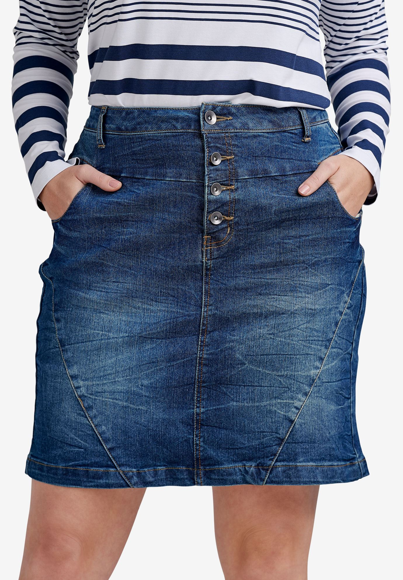 4-button Denim Skirt by ellos®,