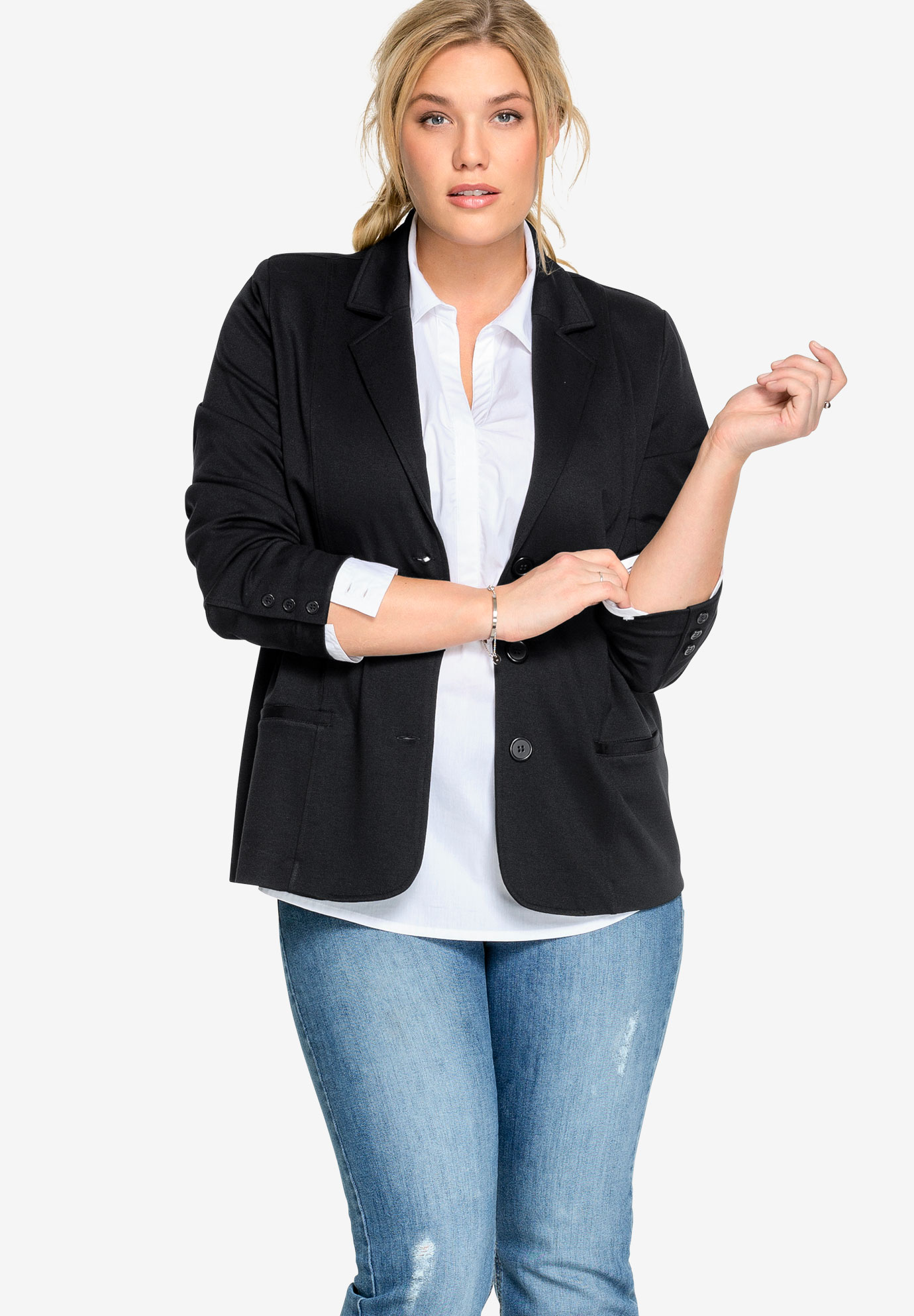 Ponte Knit Button-Front Blazer by ellos®,
