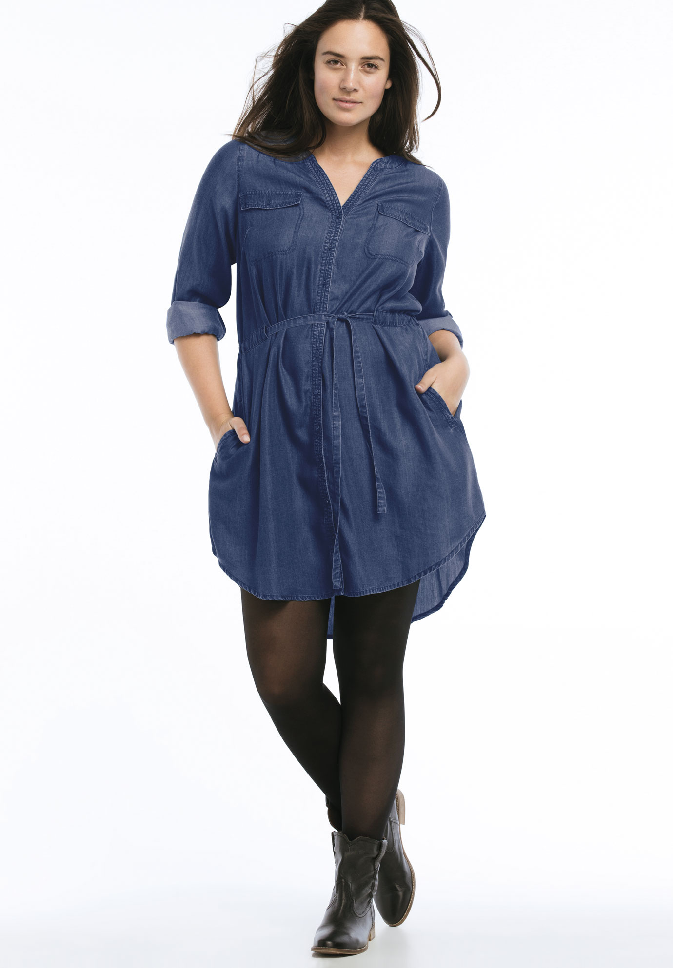 Belted Button Front Tencel Shirtdress by ellos®,