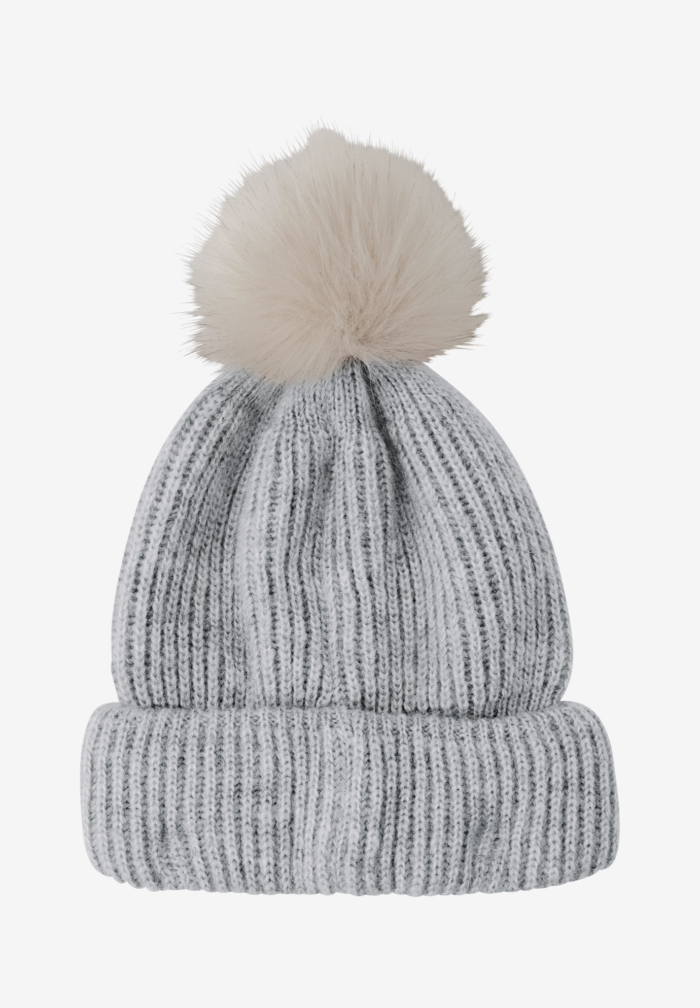 Rib Knit Pom-Pom Hat, HEATHER GREY