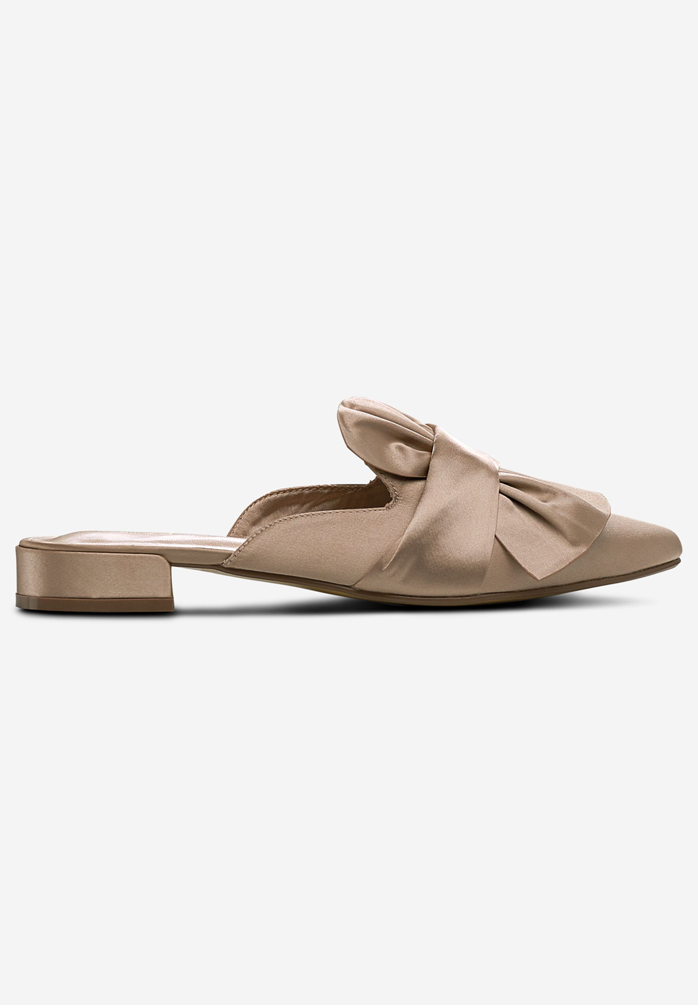 Satin Bow Mule Flats,