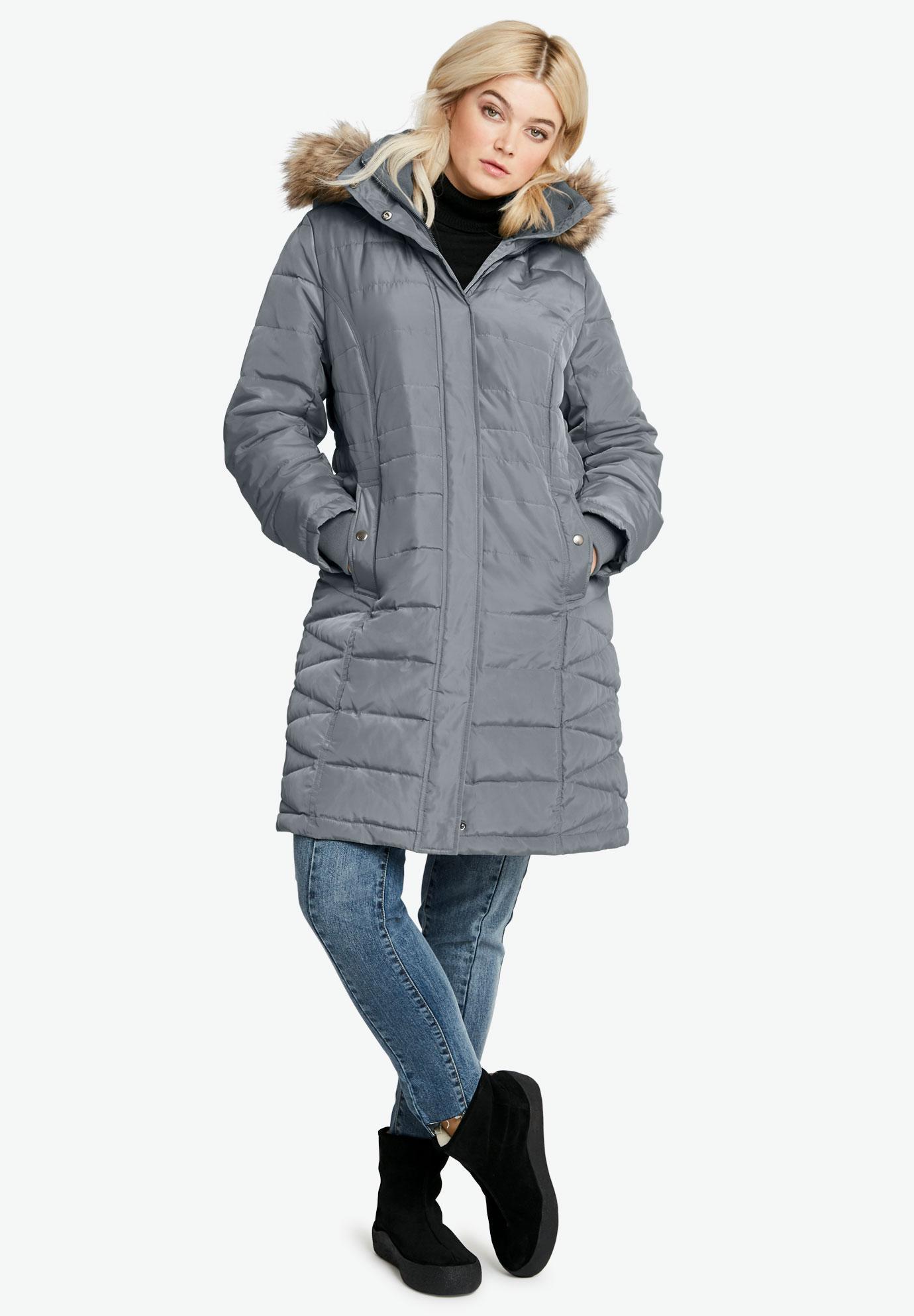 Faux Fur Trim Puffer,