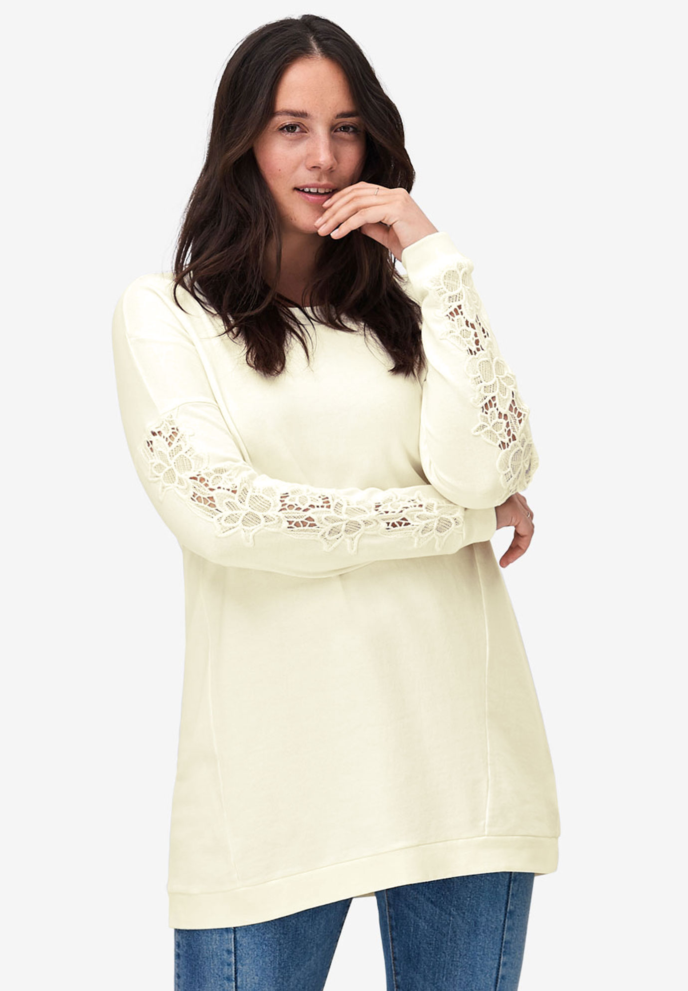 Lace Trim Sweatshirt Tunic,