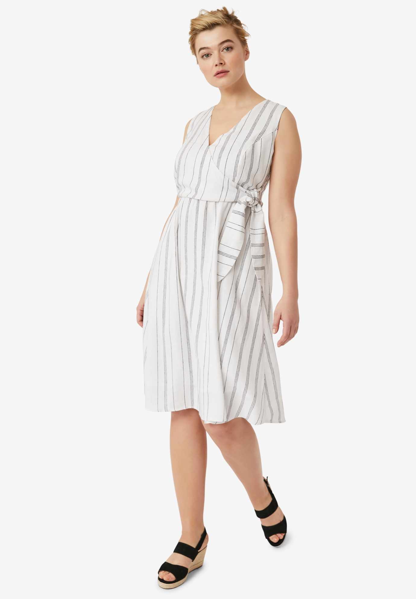 Striped Linen Faux-Wrap Dress by ellos®,