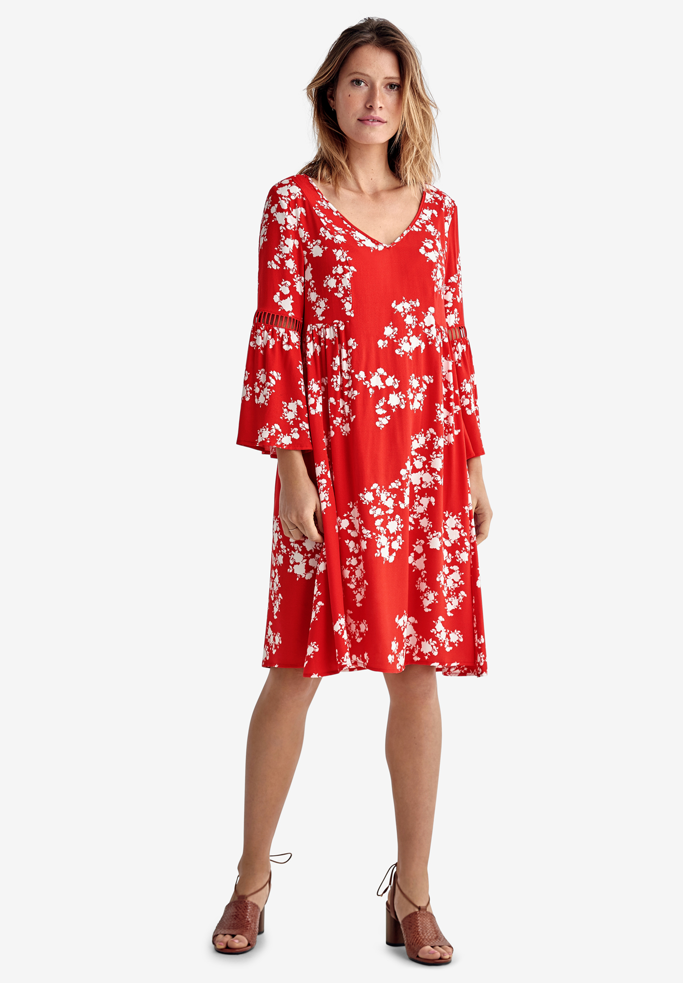 Cut-Out Bell Sleeve Dress by ellos®,