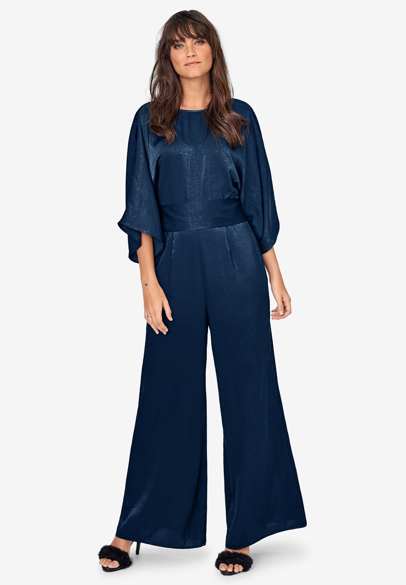 Satin Belted Jumpsuit by ellos®,