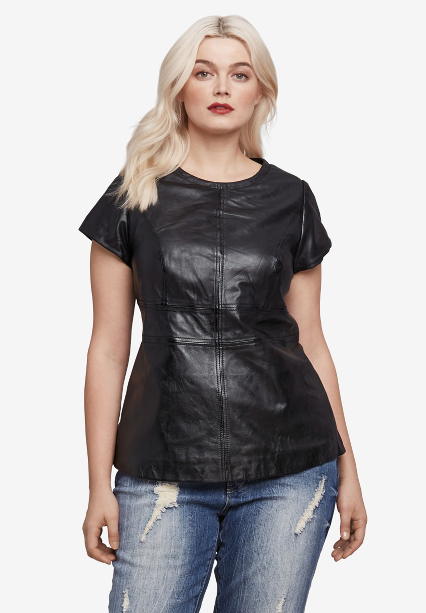 Back Zip Leather Top by ellos®,