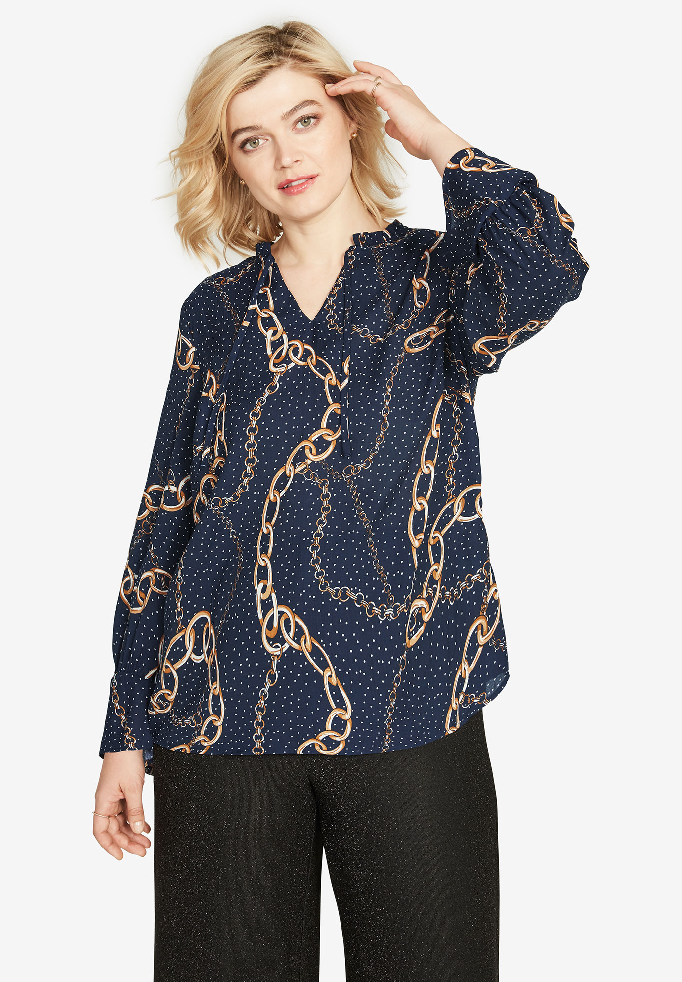 Scarf Print Keyhole Blouse by ellos®,