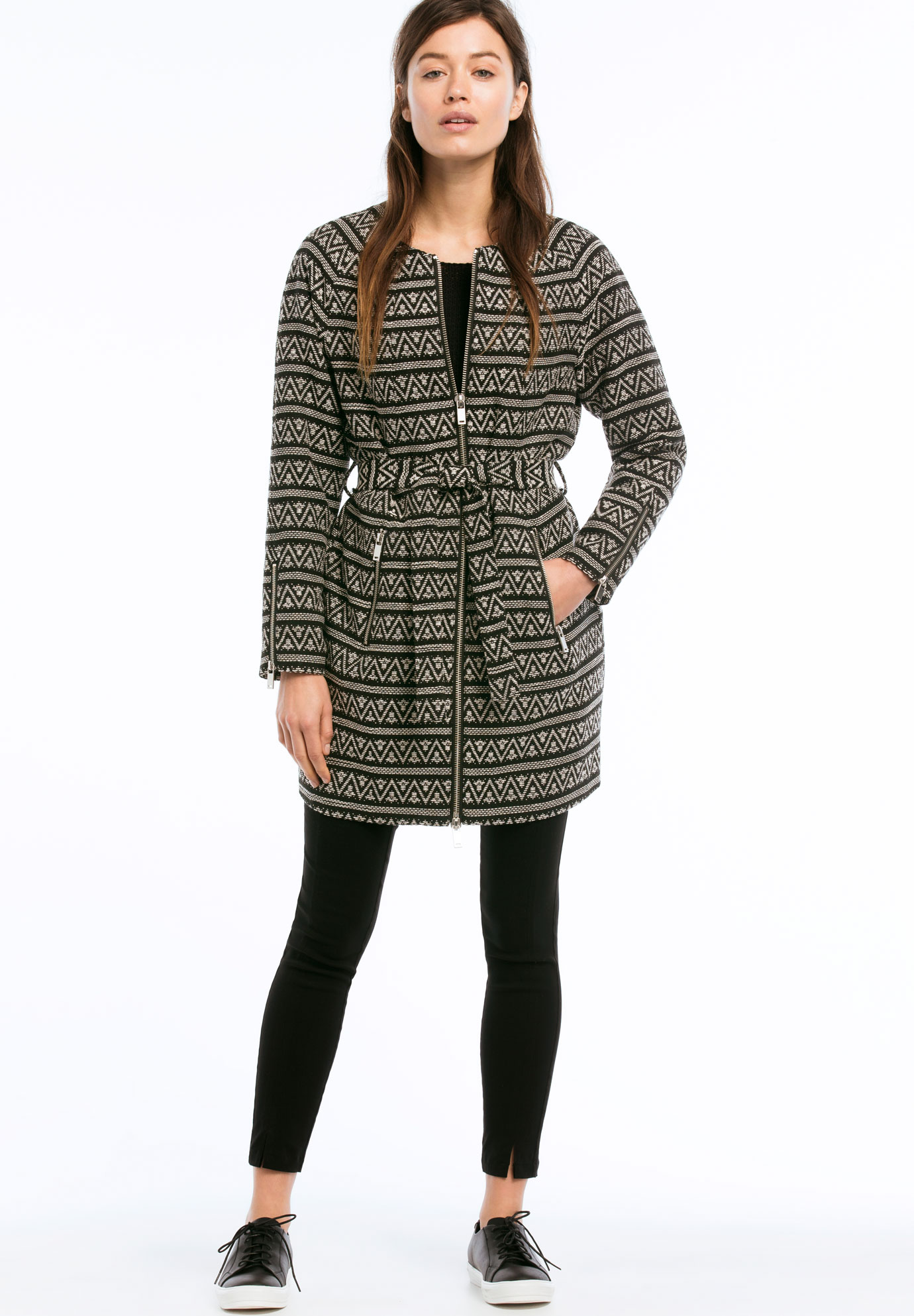 Zip Front Belted Jacquard Coat by ellos®,