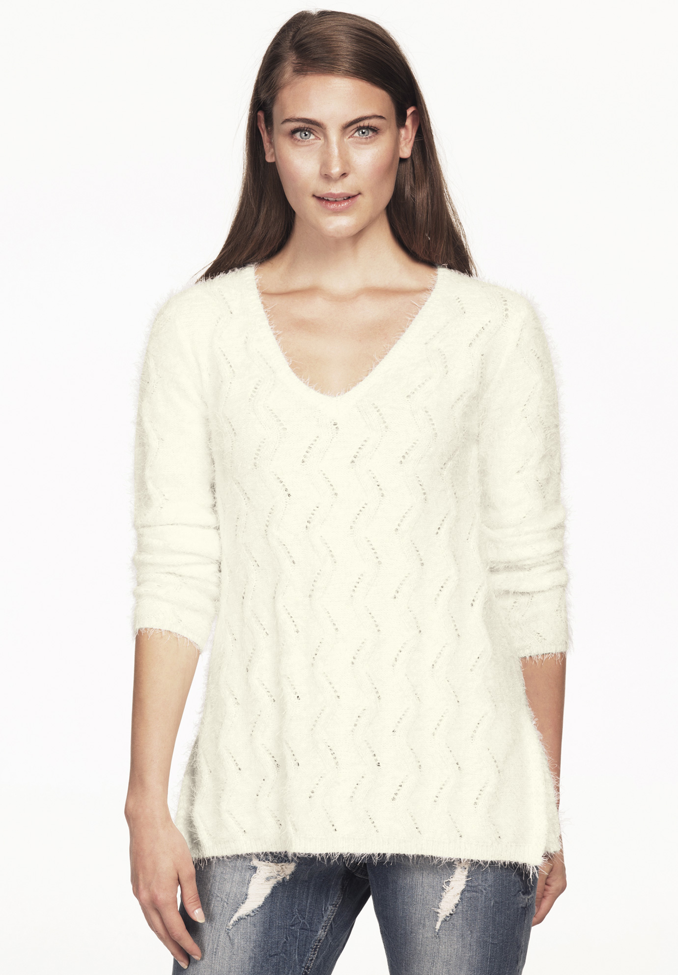 Eyelash Pointelle V-neck Sweater by ellos®,