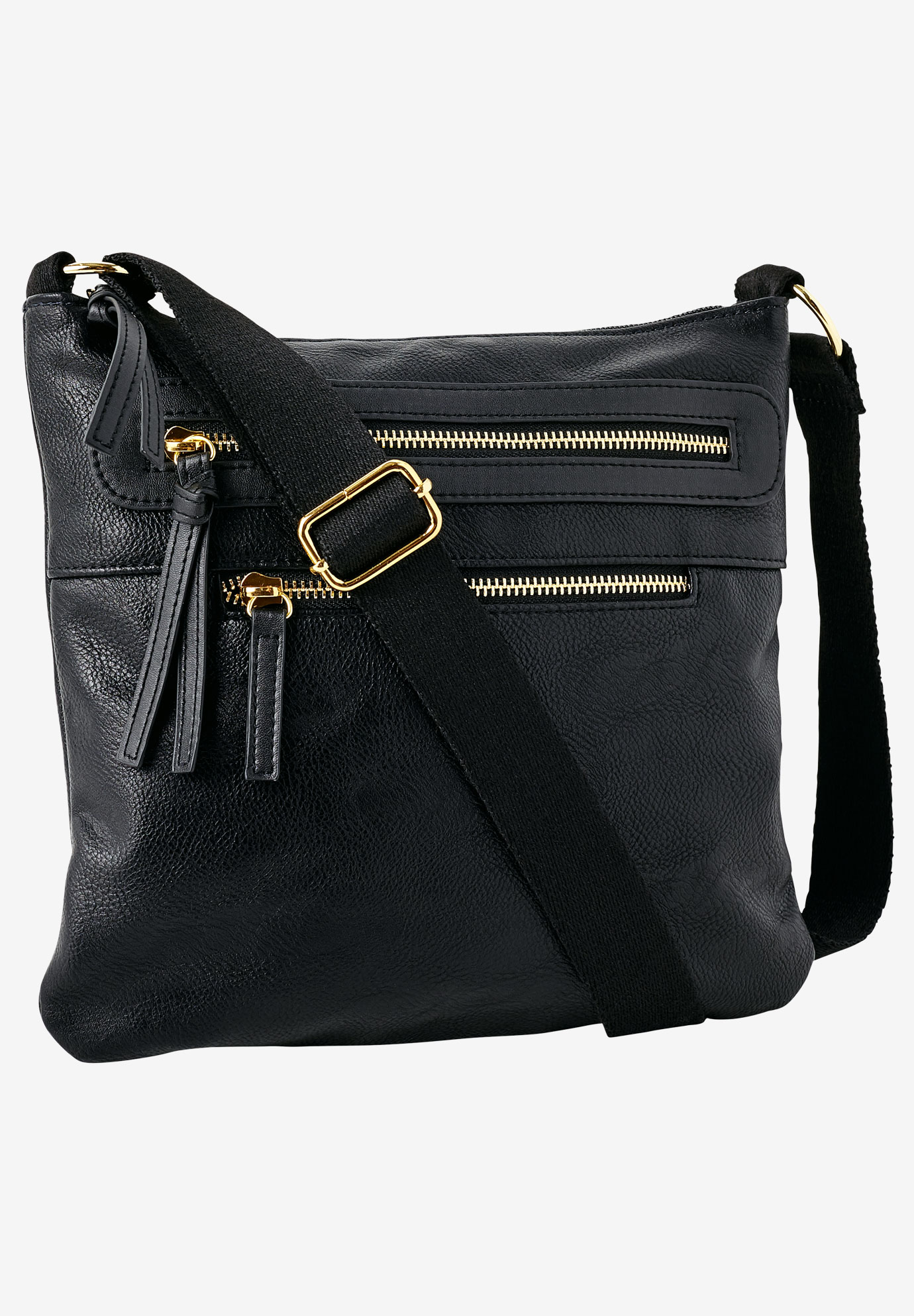 Multi-Zip Crossbody Bag, BLACK