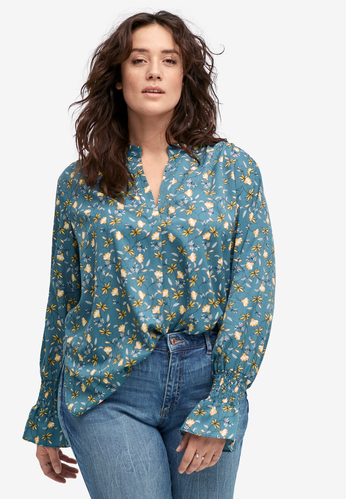 Floral Notch-Neck Blouse by ellos®,