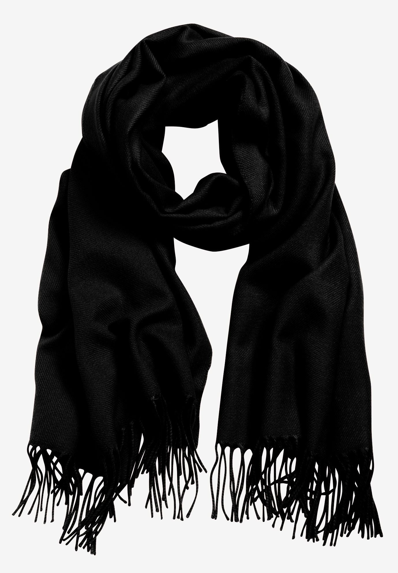 Fringe Trim Scarf by ellos®, BLACK