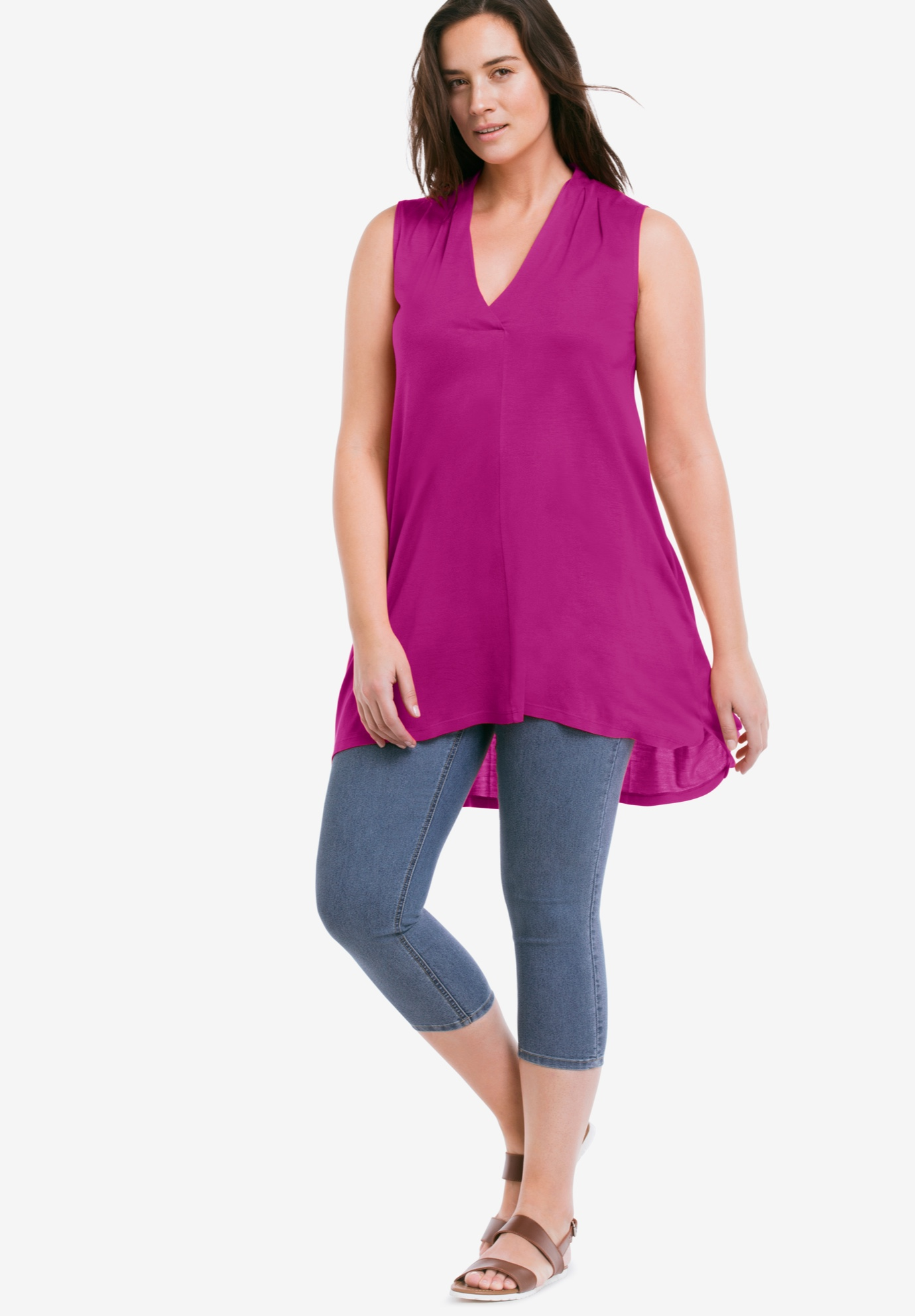 Crossover V-Neck Sleeveless Tunic,