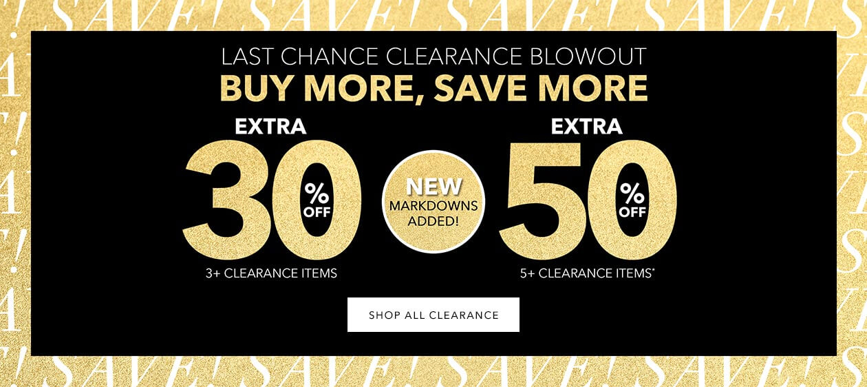 CLEARANCE BLOWOUT! - EXTRA 30% OFF 3+ CLEARANCE ITEMS OR EXTRA 50% OFF 5+ CLEARANCE ITEMS - SHOP CLEARANCE