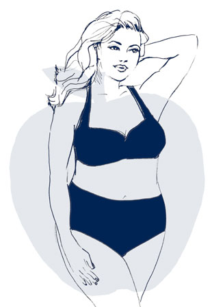 The curviest body type. Hourglasses have wider hips and shoulders, a smaller waist, full rear and thighs and shapely lower legs.