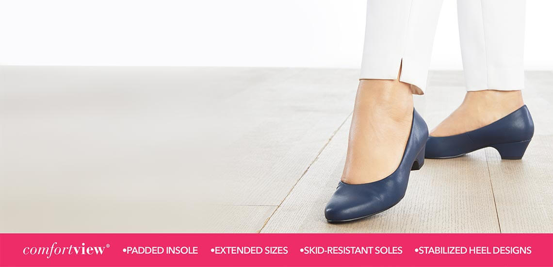 Comfortview shoes with padded insoles, extended sizes, skid-resistant soles, and stabilized heel designs.