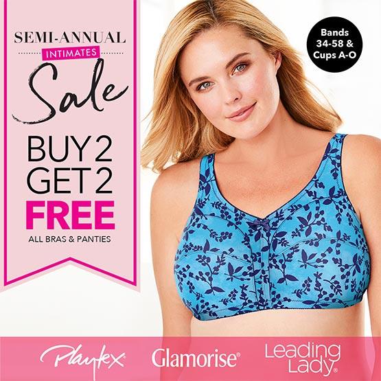 Semi-annual intimates sale buy 2, get 2 free all bras & panties.