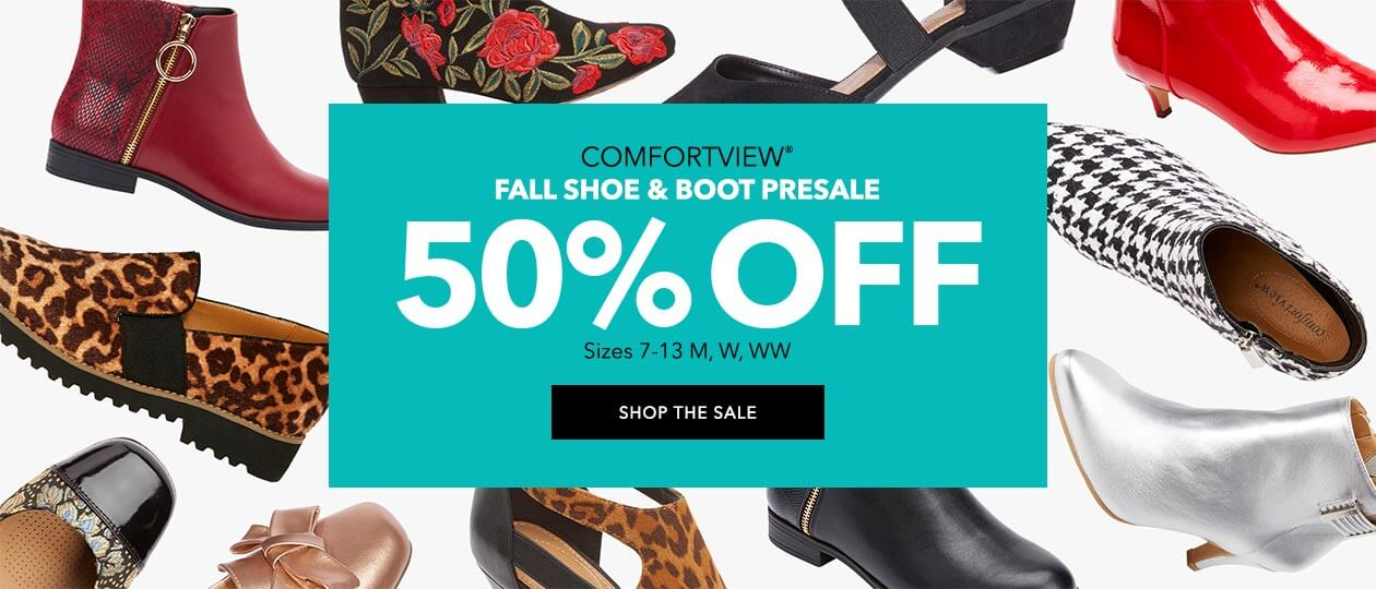 Comfortview fall shoe & boot presale 50% off! Sizes 7-13 M, W, WW - SHOP THE SALE